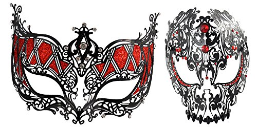 1Bay Beautiful Christmas Pair Black Mystique Collection Sexy Couple Masquerade Mask with Red (Mystique Costumes)