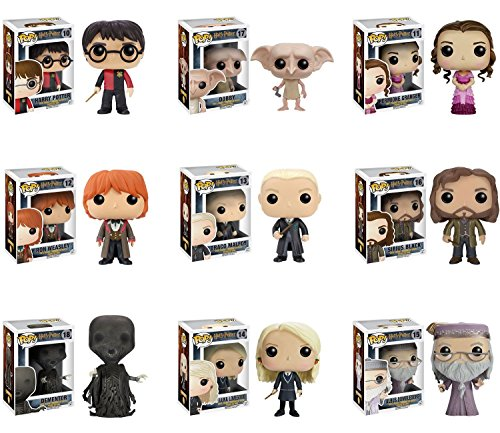 Funko Next Series of Harry Potter - Harry Potter, Ron Weasley, Hermione Granger, Dobby, Sirius Black, Luna Lovegood, Draco Malfoy, Dementor, and Albus Dumbledore Pop! Vinyl Figures Set of 9 (Yule Ron Ball Weasley)