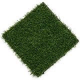 Samincom (9 Pieces) Grass Tile Series PP Interlocking Grass Deck Tiles, Each 12'× 12', Artificial Anti-wear Turf Tiles, Great for Patio, Playroom, Gym, Tradeshow
