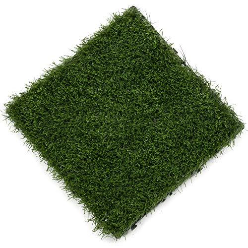 Samincom (9 Pieces) Grass Tile Series PP Interlocking Grass Deck Tiles, Each 12