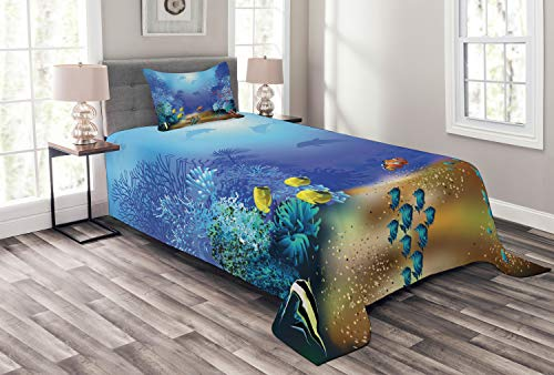 Lunarable Underwater Bedspread, Underwater Coral Reef Polyps Algae Dolphins and Goldfishes Bubbles in Deep Ocean Print, Decorative Quilted 2 Piece Coverlet Set with Pillow Sham, Twin Size, Blue Deep Blue Ocean Dolphins