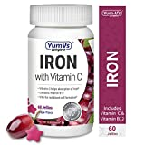 YUM-V's Complete Iron w/ Vitamin C Jellies (Gummies) Grape Flavor (60 Ct); Daily Dietary Supplement, Chewable Vitamins for Men and Women, Vegan, Kosher, Halal, Gluten Free