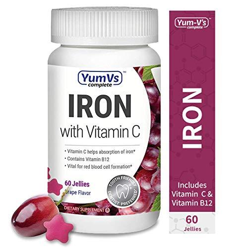 YUM-V's Complete Iron w/ Vitamin C Jellies (Gummies) Grape Flavor (60 Ct); Daily Dietary Supplement, Chewable Vitamins for Men and Women, Vegan, Kosher, Halal, Gluten Free