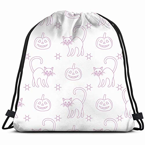 halloween 2019 pattern pumpkins holidays Drawstring Backpack Bag Gym sack Sport Beach Daypack for Girls Men & Women Teen Dance Bag Cycling Hiking Team Training 17X14 Inch]()