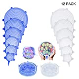 Silicone Stretch Lids, 12-Pack Reusable, Durable and Expandable Silicone Covers Fresh Food Cover Fit All Kinds of Food Storage Container,2 Colors Blue And White,6 Sizes