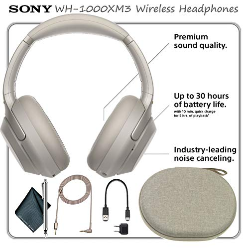 (Sony WH-1000XM3 Wireless Noise-Canceling Over-Ear Headphones Kit, Silver)