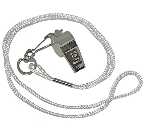Cannon Sports Metal Whistle with Lanyard, White