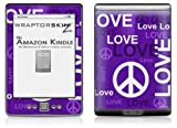 Love and Peace Purple - Decal Style Skin (fits 4th Gen Kindle with 6inch display and no keyboard)