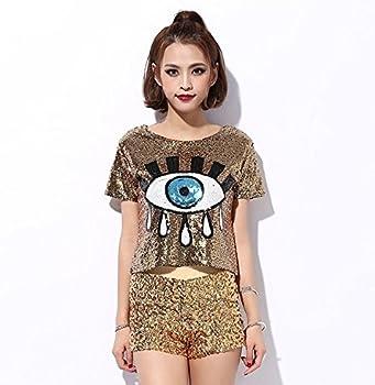 fc25820158cc22 Amazon.com  Womens Fashion Sequins Evil Eye Sparkle Glitter Hip Hop ...