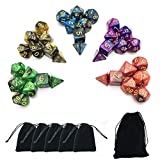 #10: Smartdealspro 5 x 7-Die Series Two Colors Dungeons and Dragons DND RPG MTG Table Games Dice with FREE Pouches