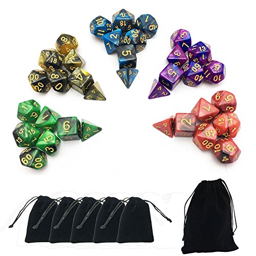 SmartDealsPro 5 x 7-Die Series Two Colors Dungeons and Dragons DND RPG MTG Table Games Dice with FREE Pouches (Sets D20 Dice)