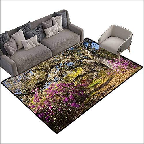 Anti-Slip Coffee Table Floor Mats Landscape,Flowers in Charleston 60