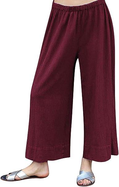 Worsworthy Pantalones Mujer De Vestir Elegantes Pantalones De Tiro Alto Mujer Pantalones Anchos De Color Puro Con Cintura Elastica De Color Puro Para Mujer Pantalones Lazo Mujer Mezcla De Algodon Amazon Es Ropa