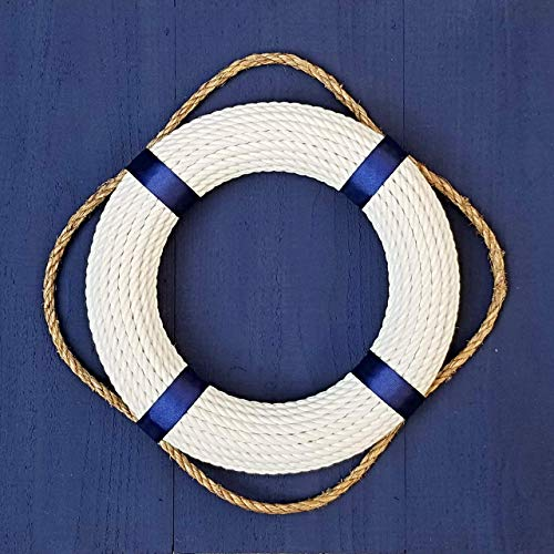 Life Preserver Hanging - Handmade Classic Nautical Life Preserver Wreath | Lifesaver Rope Wall Hanging | Natural Cotton Cord Life Ring Wreath with Grab Rope | Waterfront Decorative Accent | Handmade in the USA