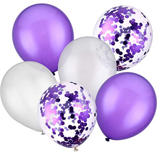 30 Pieces 12 Inches Latex Balloons Confetti Balloons for Wedding Birthday Party Decoration (White and Purple)