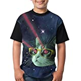 LANGEGE Space Cat With Glasses Youth Boys/Girls Summer Short Sleeve Tops T-Shirt