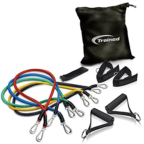 RESISTANCE BAND Set By Trained with Door Anchor, Ebook Workout Routines Delivered By Email, Ankle Strap, Exercise Chart,Great For Crossfit, Men and Women, Comes With Carrying (Beginner Rebounder Dvd)