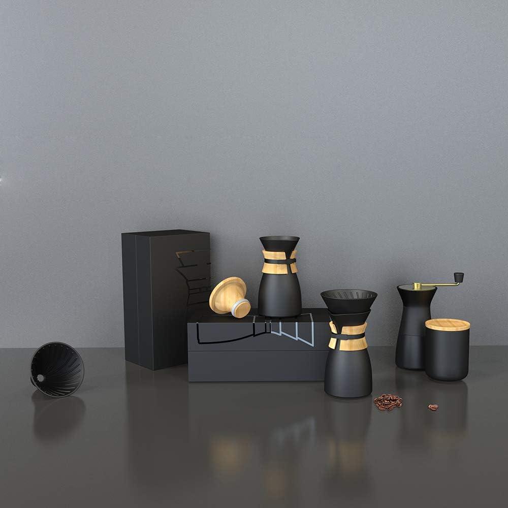 inkl Holzgriff und Holzdeckel Keramik Filter Sp/ülmaschinenfest Barista Legend Pour Over Keramik Kaffeebereiter Matt Schwarz Handfilter Handbrew Set 3 Teilig f/ür V60 Filterpapier geeignet