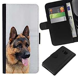 All Phone Most Case / Oferta Especial Cáscara Funda de cuero Monedero Cubierta de proteccion Caso / Wallet Case for HTC One M7 // German Shepherd Canine Dog King