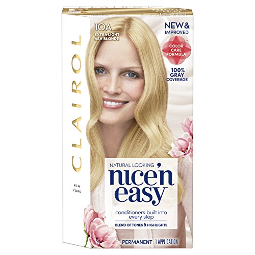 Clairol Nice 'n Easy Permanent Hair Color, 10A Extra Light Ash Blonde, 3 Count Ash Blonde Base