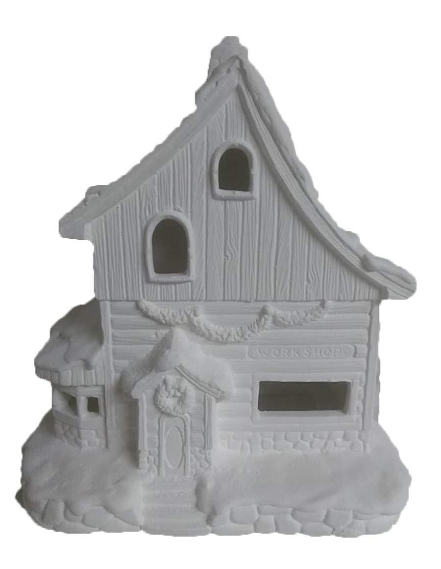 Elves Toy Workshop 8'' x 7'' x 5'' Ceramic Bisque, Ready to Paint