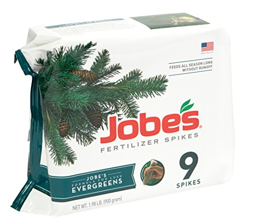 Jobes Evergreen Fertilizer Spikes 11-3-4 Time Release Fertilizer for Juniper, Spruce, Cypress and All Other Evergreen Trees, 9 Spikes per Package