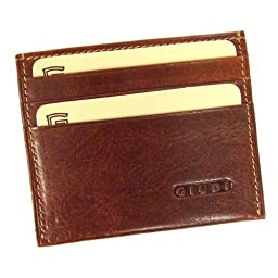 DEBITO - Slim Italian Leather Credit Card Holder with ID, Brown