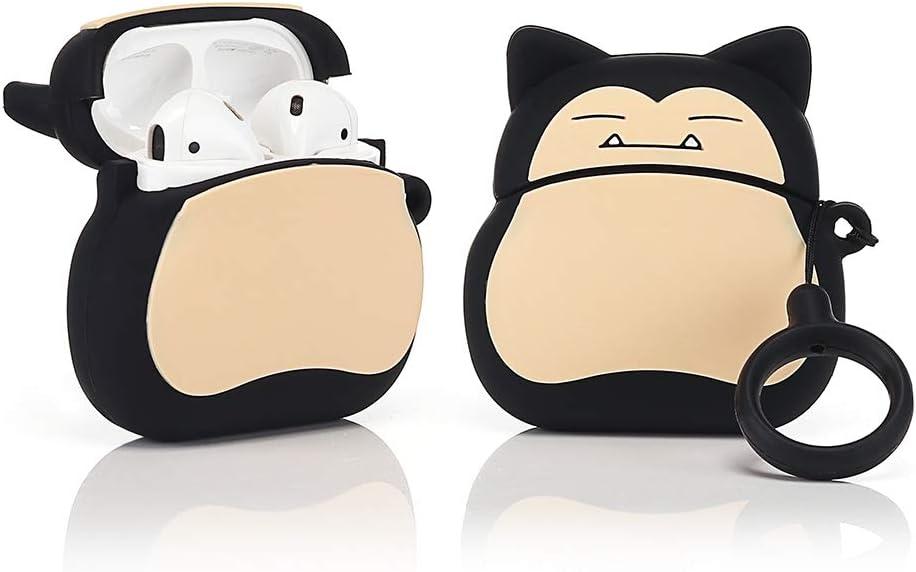 LEWOTE Funda de Silicona Compatible con Apple Airpods 1 y 2 Funny Cover [Diseño de Dibujos Animados 3D] Niños y Niñas (Snorlax)