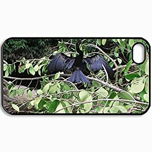 Customized Cellphone Case Back Cover For iPhone 4 4S, Protective Hardshell Case Personalized Cormoran Drying Black