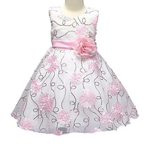 Party Dresses for Girls Sequins Vestidos De Para Ninas Flower Princess for Birthday Wedding Tutu Ruffles Pageant Elegant Big Little Kids Dresses Size 4 5 (7790 pink 130) ()
