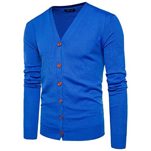 Uni Chandail Sweater Veste Homme Moulant Saphir En Garçon Gilet Décontracté Coton Cardigan Tricot Elonglin Couleur Bleu Bouton Col Knit V qZpxatx