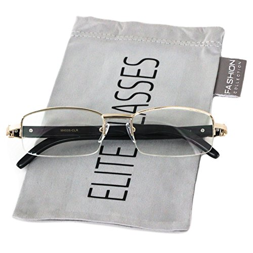 Elite WOOD Art Nouveau VINTAGE Semi Rimless Gangster RICH Frame Eye Glasses (Rose Gold Black, - Rimless Square Semi Glasses