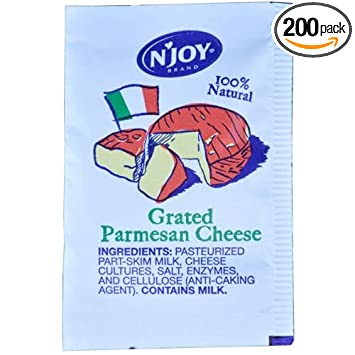 amazon com cheese n joy parmesan 200 packet 3 5 gram grocery