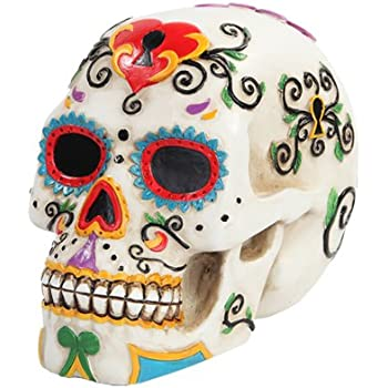 55 Inch Multicolor Patterned Day Of The Dead Skull Statue Figurine