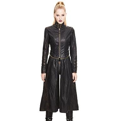 b9c472e709e2f Devil Fashion Women Long Coat Gothic Punk Slim Fit Pu Leather Jacket  Lace-Up Causal