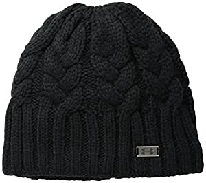 Under Armour Women's Around Town Beanie, Black/Metallic Pewter, One Size
