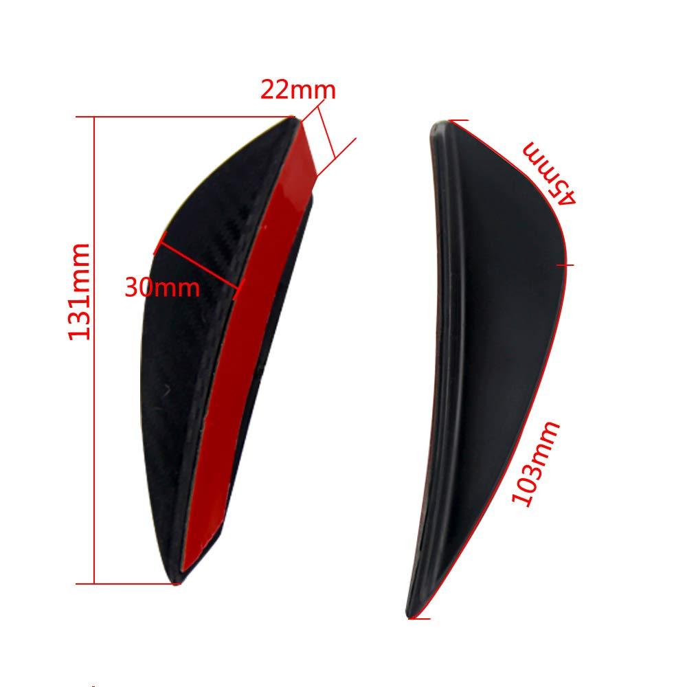 PQYRACING 4pcs Carbon Fiber Style Front Bumper Lip Splitter Fins Body Spoiler Canards Valence Chin