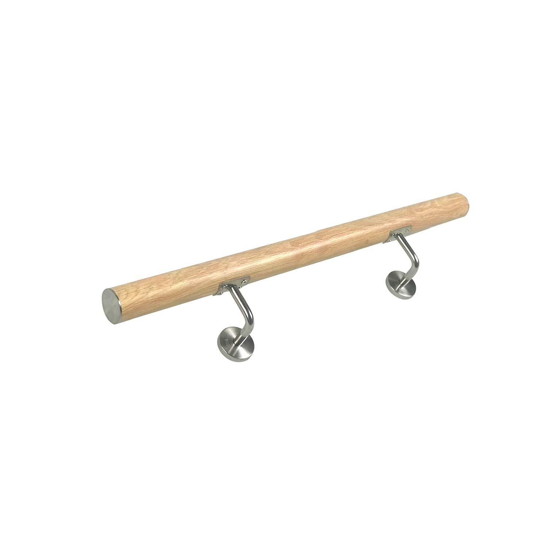 100cm, Dunkle Holzmaserung f/ür drinnen und drau/ßen Treppen Balkon Br/üstung Treppengel/änder Wandhandlauf Wandhalter HENGMEI Edelstahl Handlauf Gel/änder Holzmaserung 100cm