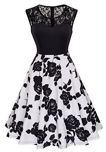 HOMEYEE Women's Vintage Chic Sleeveless Cocktail Party Dress A008 (S, Black + White)