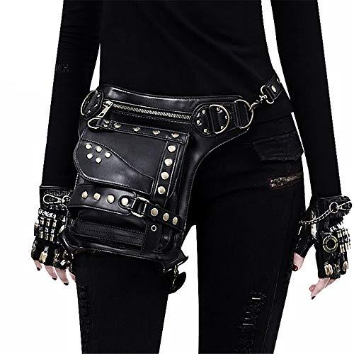 Zxcvlina Steampunk Retro Motorcycle Bag Lady Bag Retro Rock Gothic Goth Shoulder Waist Bag Drop Leg Bag Multifunction Waist Bag Belt Bag for Women Gift ()