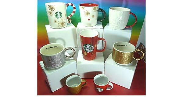 Starbucks Navidad 2015 colección 8 tazas (6 tazas y 2 mini tazas) gozosa, caramelo, Graffiti, Dot ABST, oro brillante, plata brillante y rojo Demi mini taza ...
