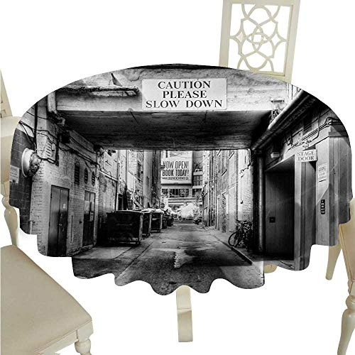 - cordiall City Decorative Textured Fabric Tablecloth Caution Please Slow Down Sign on Passage Town Old Fashion Urban District Scenery Great for Buffet Table D60 Black and White