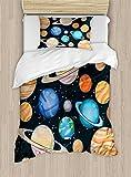 Galaxy Duvet Cover Set Twin Size by Ambesonne, Cute Galaxy Space Art Solar System Planets Mars Mercury Uranus Jupiter Venus Kids Print, Decorative 2 Piece Bedding Set with 1 Pillow Sham, Multi