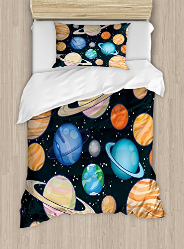 Galaxy Duvet Cover Set Twin Size by Ambesonne, Cute Galaxy Space Art Solar System Planets Mars Mercury Uranus Jupiter Venus Kids Print, Decorative 2 Piece Bedding Set with 1 Pillow Sham, Multi by Ambesonne