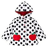Wennikids Baby Girls Boys Raincoat Windbreaker Hooded Bomber Outerwear Clothes Jacket Small White Dot