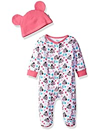 Baby Girls' Minnie Mouse Footie Sleeper and Bib OR Hat Set