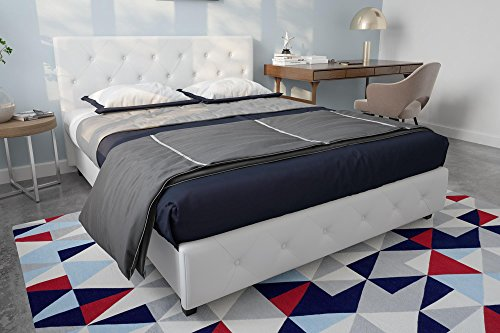 Bed Queen White Platform (DHP Platform Bed, Dakota Faux Leather Tufted Upholstered Platform Bed - Includes Tufted Upholstered Headboard and Side Rails, Queen Platform Bed - White White Queen)