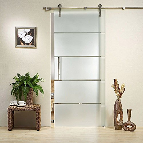 GBD-S01# Satin Nickel Brushed Stainless Steel Sus304 Modern Barn Glass Sliding Door Hardware Track Kit for Storage, Laundry, Master Room, Walk-in Closet, Shutters (Single Door 5FT /1500mm)