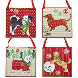 RAZ Imports Christmas Decor - MDF Dog Puppy Signs Ornaments 4pc Set