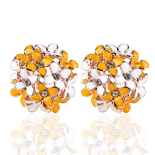 Ownsig Lady Charming Bloomy Four Leaf Clover Flowers Rhinestone Ear Stud Earrings Yellow ()